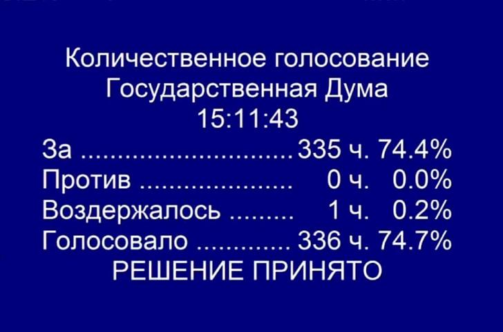 Госдума поддержала законодательную инициативу волгоградского регпарламента